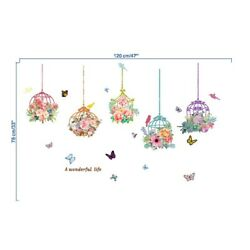 Decals Wall Sticker Kids Decor Colorfastness Colourful Flower Bird Cage New $11.46