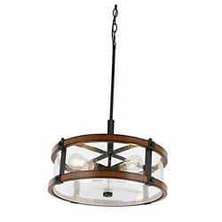 4 Lights Drum Chandelier Farmhouse Rustic Chandelier Lighting with 4 Lights $73.40