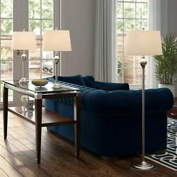 Traditional Table Floor Lamp Set of 3 Brushed Steel for Living Room Bedroom $119.99