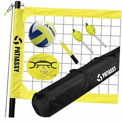 Portable Outdoor Volleyball Net Set with Height Adjustable Poles Winch Yellow $212.64