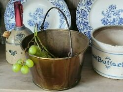 Antique Copper Bucket Fire Blackened Fireplace Hearth Small Cooks Pail Prim Pot $68.00