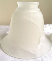 Lot of 3 Bell Shaped White Frosty Glass Fixture Scone Light Lamp Ceiling Shades $15.00