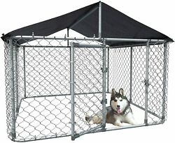 """118""""W Large Outdoor Dog Kennel Heavy Duty Steel Dog Cage Chicken Coop Hen House"""