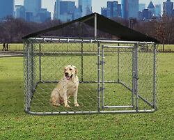 10x10ft Large Outdoor Heavy Duty Dog Kennel Steel Pet Dog Cage Fence w Cover