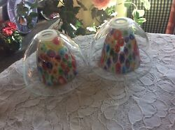Murano Pair Millefiori Art Glass Pendent Lamp Shade With Clear Over Glass Shades $89.95