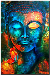 Buddha Decor Bedroom Wall Art Blue Colorful Zen Wall Paintings 24x36quot; Abstract $80.12