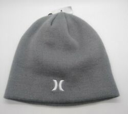 Hurley Men#x27;s Adult Beanie Knit One Size Gray Embroidered Outdoor Bin 13 $10.48