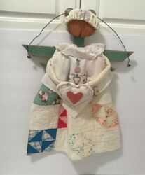 COUNTRY COTTAGE HAND MADE WALL HANGING ANTIQUE QUILT FABRICS AND TRIMS $25.95