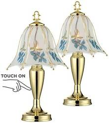 Cottage Small Table Lamps Set of 2 Brass Blue Floral Glass Shade for Bedroom $79.98