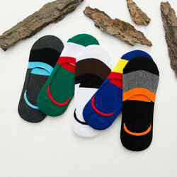 5 10 Pairs Men Sock Cotton Color Stripe Loafer Invisible Low Cut Boat Crew Socks $7.99