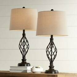 Traditional Table Lamps Set of 2 Bronze Iron Scroll for Living Room Bedroom $79.99