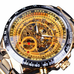 Mens Watches Mechanical Automatic Skeleton Classic Fashion Stainless Steel Watch $24.95
