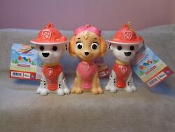SET OF 3 PLASTIC PAW PATROL SKYE AND MARSHALL ORNAMENTS WITH CANDY INSIDE $13.29