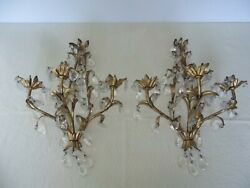 Matching Pair Vintage Italy Prism Wall Sconce 3 Arm Florentine Hollywood Regency $295.00