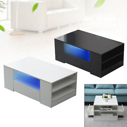 High Gloss Coffee Table W Drawer Modern Table Accent Tea Living room Furniture $151.03