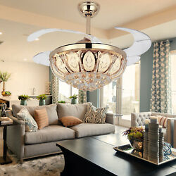 42quot; LED Gold Invisible Ceiling Fan Light Modern Crystal Chandelier Lamp W Remote $123.99