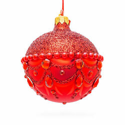 Bejeweled Chandelier on Red Glass Ball Christmas Ornament $15.46