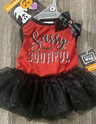 """Simply Wag Halloween Dog Red Dress """" SASSY AND BOOTIFUL """" SMALL $14.00"""