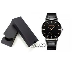 Mens Watches With Box Gents Wrist Watch Black Quartz Analogue Leather Casual UK GBP 8.99