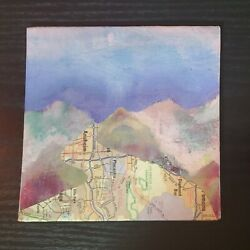 Mini Wall Art Canvas Paintings Road Map Landscape 5x5quot; Traveler Vacation Home $17.00