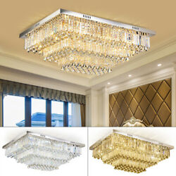 3 Colours Dimmable Remote Crystal Ceiling Light Chandelier Home Lights