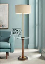Modern Floor Lamp with Table USB Outlet Brass Wood Living Room Bedroom Reading $269.99