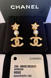 CHANEL CC and Star Earrings with Crystal and Pearl NWT $529.00