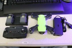 Excellent Condition Green DJI Spark Drone Quadcopter 2 BATTERIES $249.99