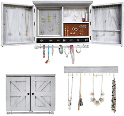 Rustic Wall Mounted Jewelry Organizer with Wooden Barndoor DecorWooden Wall for $61.32