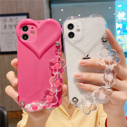 For iPhone 13 Pro Max 12 11 XS XR 8 7 Girl Cute Shockproof Love Heart Strap Case $9.99