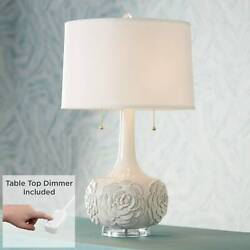 Contemporary Table Lamp with Table Top Dimmer White Ceramic Glaze Living Room $164.98