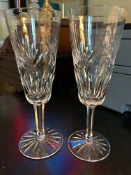 Waterford Ashling Two Champagne Flutes Pair Crystal Clear MINT Condition $72.99
