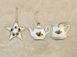 Vintage Royal Albert Old Country Roses Teapot Teacup amp; Star Christmas Ornaments $33.95