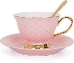 VanEnjoy Pink Vintage 8 Ounces Porcelain Coffee CupTea Cup and Saucer Set and S $19.83