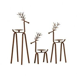 Varied Heights Holiday Reindeer Pillar Candle Holder Set of 3 made of Iron in $37.40