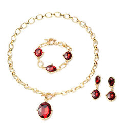 Red Glass Set of 3 Linked Chain Necklace Bracelet Earrings Set Gift Size 20.5quot; $20.17