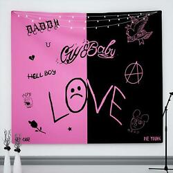 Pink and Black Tapestry as Merch Wall Hanging for Bedroom Aesthetic 51quot; X 59quot; $18.29