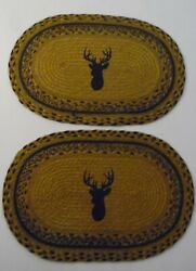 Trophy Mount Deer Oval Jute Braided Rustic Country Cabin Placemats SET OF 6 $49.99