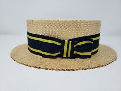 Lock amp; Co Vintage for Brooks Brothers Hard Straw Boaters Hat 7 3 8 Deadstock $449.95