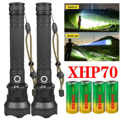 Most powerful 350000 lumens XHP70 LED Flashlight Rechargeable USB Zoomable $14.13
