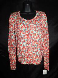 Nordstrom Halogen M NWT Pink Blue Cardigan Sweater Blurry Floral Button Knit NEW $14.99