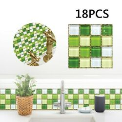18PCS Simulation Mosaic PVC Tile Wall Stickers For Kitchen Bathroom Waterproof $10.01