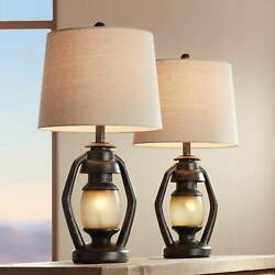 Rustic Table Lamps Set of 2 with Nightlight Miner Lantern Brown for Living Room $139.99
