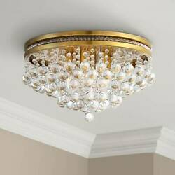 Ceiling Light Flush Mount Fixture Brass 15 1 4quot; Clear Crystal Bedroom Kitchen $299.99