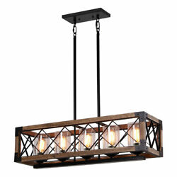 Wood Metal Pendant Light Kitchen Island Over Sink Chandelier with Glass Shades $248.96