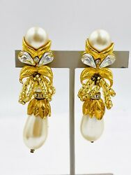 Lois Ann Earrings Crystal and Faux Pearls Bow drop dangle Clip On $125.00
