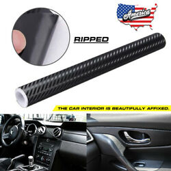 3D Black Carbon Fiber Car Wrapping Film Vinyl Roll With Air Release 59.8X11.8in $9.99