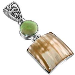 2quot; GREEN BIWA COIN PEARL GOLD MOTHER OF PEARL TURBO SHELL 925 SILVER pendant $19.95