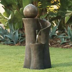 Modern Outdoor Water Fountain Zen Sphere 39 1 2quot; with LED Light Lamps Plus $279.99