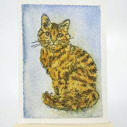 ACEO Original Watercolor Painting Ink and Wash Orange Tabby Cat $5.95